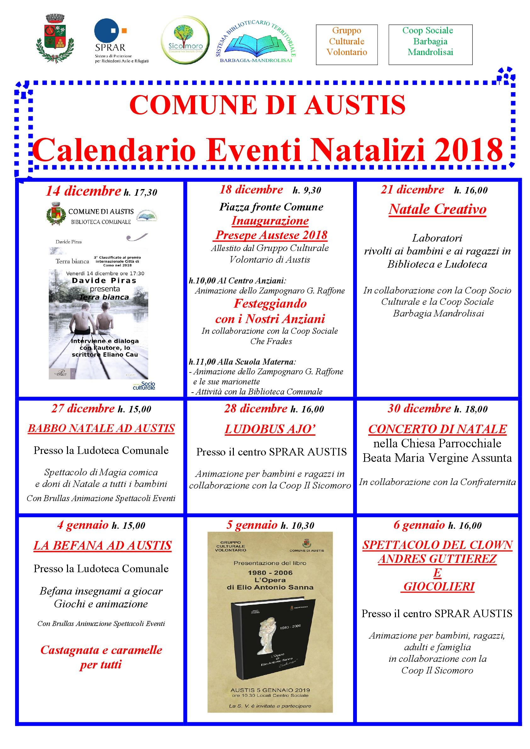 CALENDARIO EVENTI NATALIZI 2018